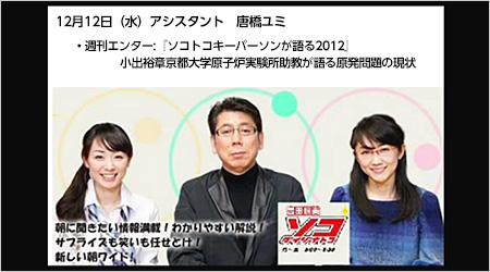 吉田照美のソコトコ2012年12月12日小出裕章氏